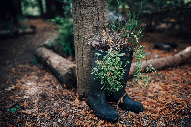 Wellington Boots Planter Wedding Decor | DIY Woodland Wedding at Two Woods Estate in Sussex | PJ Phillips Photography