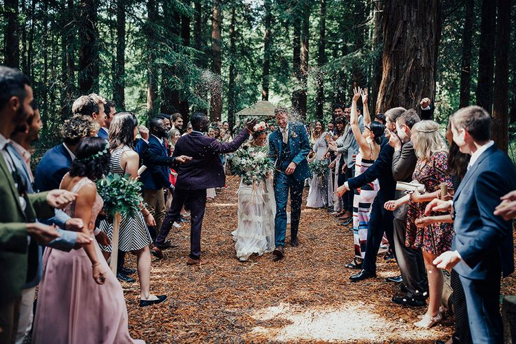 Bride in Bespoke Lace Gown & Flower Grown | Groom in Blue Suit | DIY Woodland Wedding at Two Woods Estate in Sussex | PJ Phillips Photography