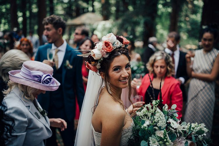 Boho Bride in Beautiful Flower Crown | DIY Woodland Wedding at Two Woods Estate in Sussex | PJ Phillips Photography