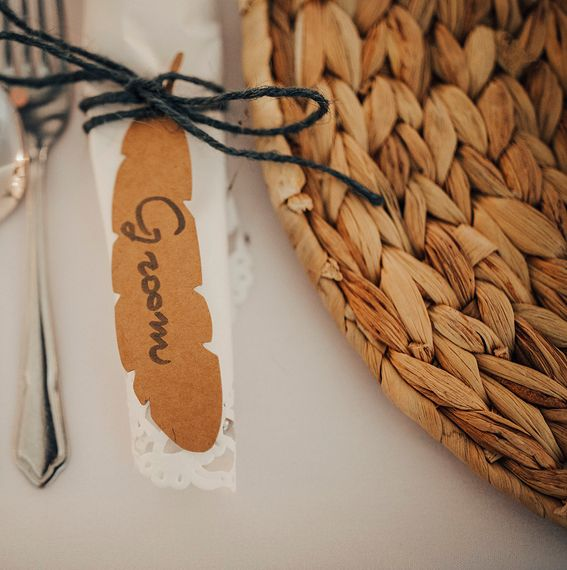 Kraft Paper Feather Place Name Setting | DIY Woodland Wedding at Two Woods Estate in Sussex | PJ Phillips Photography