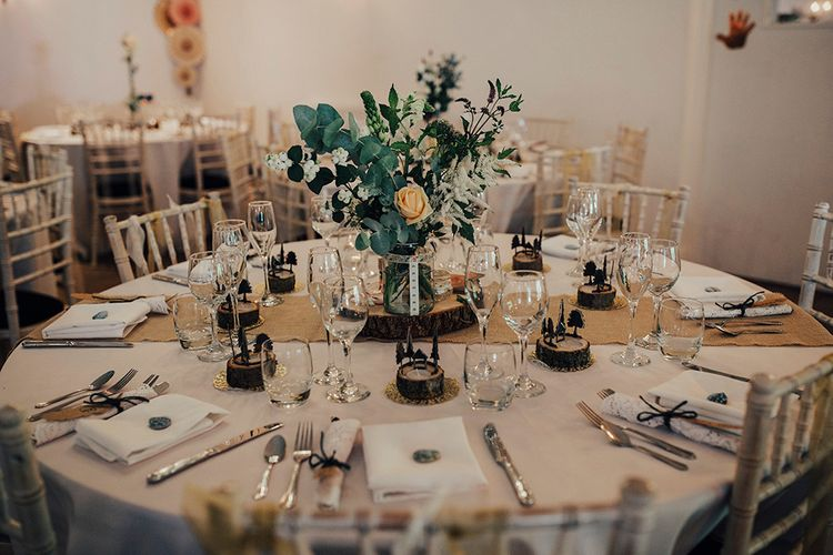 Rustic Wedding Breakfast Table Decor | DIY Woodland Wedding at Two Woods Estate in Sussex | PJ Phillips Photography
