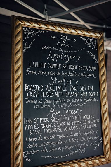 Chalkboard Menu Sign | DIY Woodland Wedding at Two Woods Estate in Sussex | PJ Phillips Photography