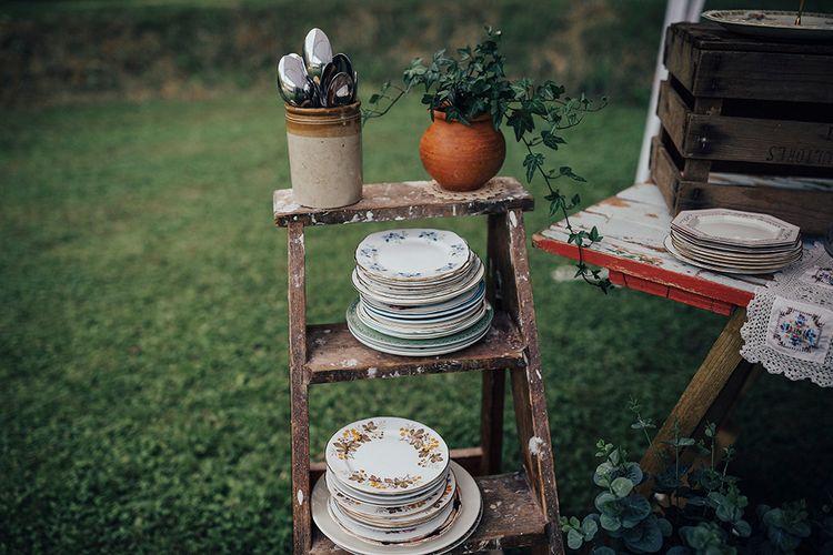 Vintage Step Ladder & Crockery | DIY Woodland Wedding at Two Woods Estate in Sussex | PJ Phillips Photography