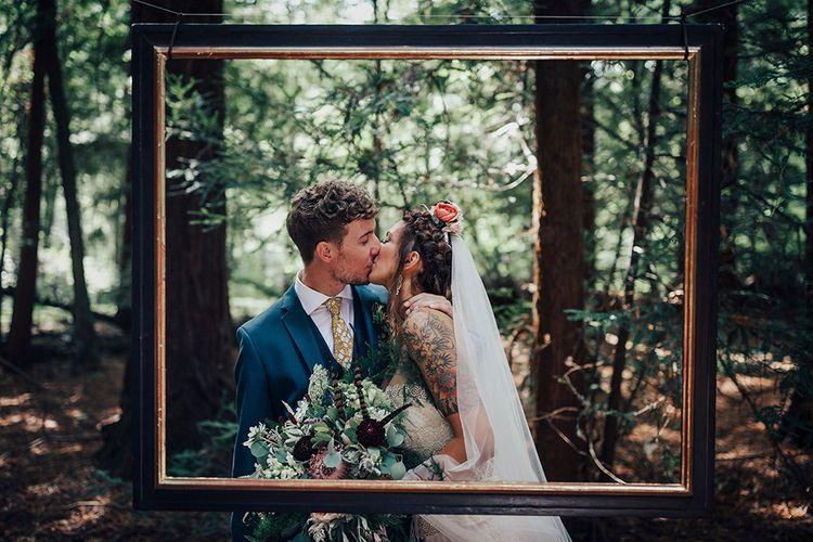 Bride & Groom Portrait | DIY Woodland Wedding at Two Woods Estate in Sussex | PJ Phillips Photography