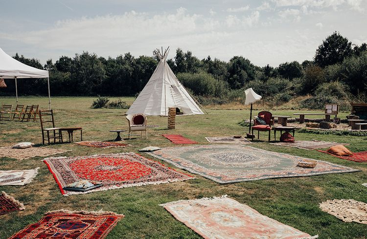 Teepee's & Moroccan Rugs for a Relax Outdoor Reception | DIY Woodland Wedding at Two Woods Estate in Sussex | PJ Phillips Photography
