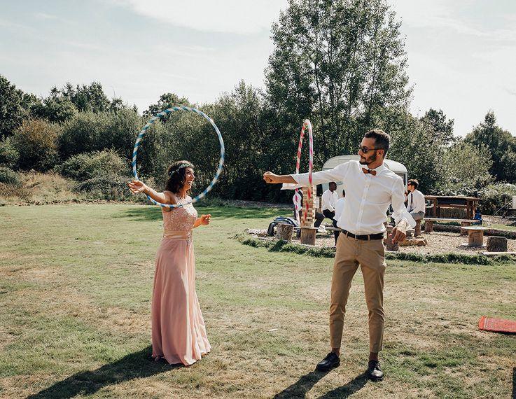 Hula Hoop Wedding Garden Games | DIY Woodland Wedding at Two Woods Estate in Sussex | PJ Phillips Photography