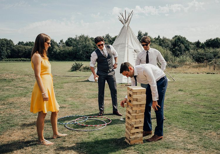 Giant Jenga Wedding Games |DIY Woodland Wedding at Two Woods Estate in Sussex | PJ Phillips Photography