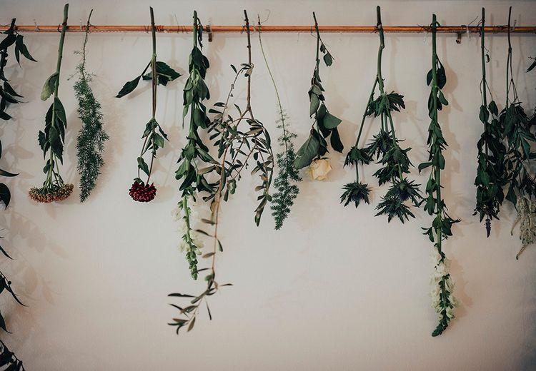 Hanging Flower Stem Wedding Decor | DIY Woodland Wedding at Two Woods Estate in Sussex | PJ Phillips Photography