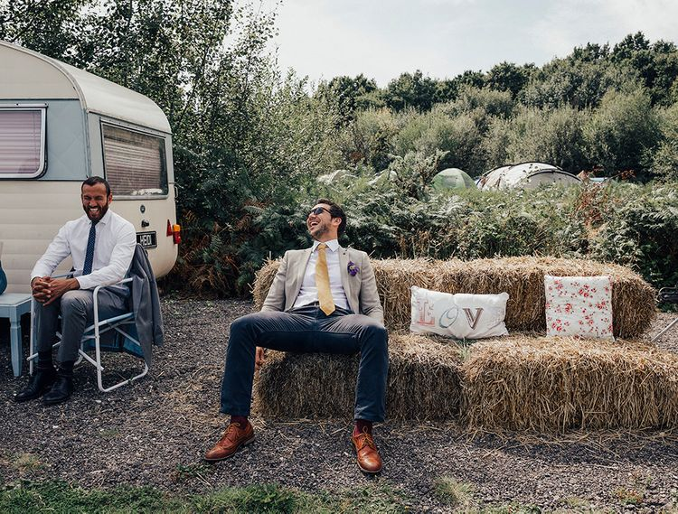 Hay Bale Seating Area | DIY Woodland Wedding at Two Woods Estate in Sussex | PJ Phillips Photography