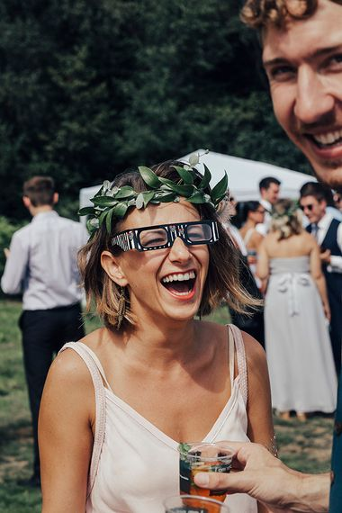 Bridesmaids in Greenery Flower Crown | DIY Woodland Wedding at Two Woods Estate in Sussex | PJ Phillips Photography