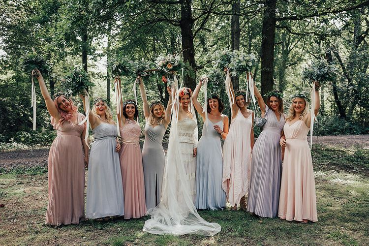 Bridesmaids in Different Pastel High Street Dresses | DIY Woodland Wedding at Two Woods Estate in Sussex | PJ Phillips Photography