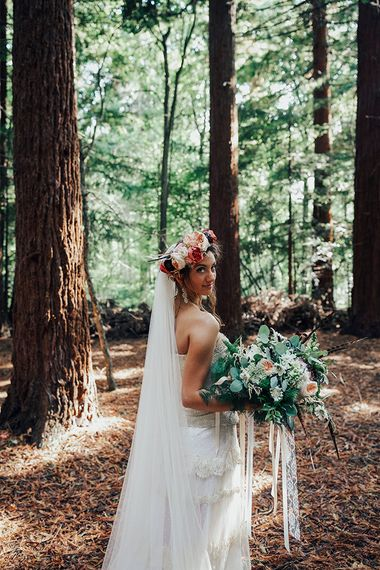 Bride in Bespoke Lace Gown & Flower Grown | DIY Woodland Wedding at Two Woods Estate in Sussex | PJ Phillips Photography