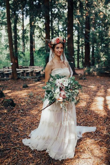 Oversized Bridal Bouquet with Protea, Eucalyptus, Roses & Dahlias | Bride in Bespoke Lace Gown & Flower Grown | DIY Woodland Wedding at Two Woods Estate in Sussex | PJ Phillips Photography