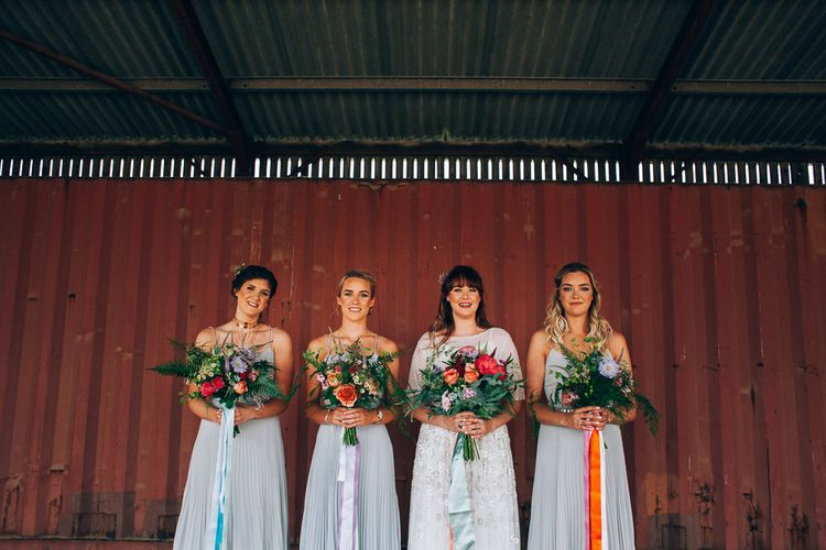 Bridesmaids in ASOS Dresses | Colourful Wedding at Kelmarsh Hall in Northamptonshire | Casey Avenue Photography