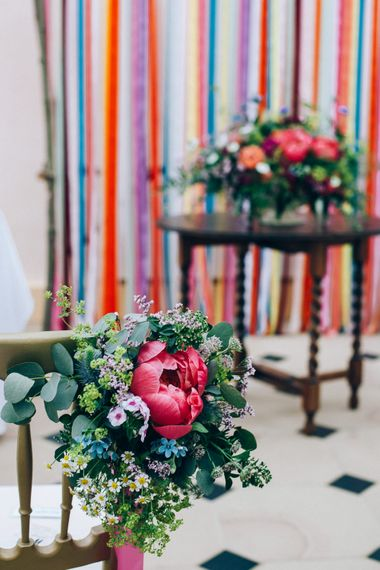Peony Floral Chair Back Decor | Colourful Wedding at Kelmarsh Hall in Northamptonshire | Casey Avenue Photography