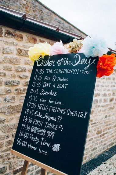 Chalkboard Wedding Sign | Colourful Wedding at Kelmarsh Hall in Northamptonshire | Casey Avenue Photography
