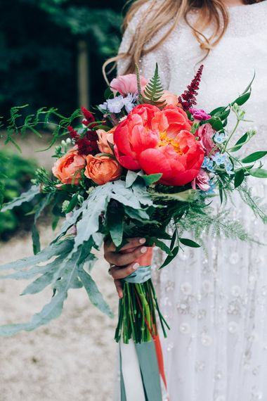 Colourful Bouquet with Giant Peony | Bride in Needle & Thread Bridal Skirt | Colourful Wedding at Kelmarsh Hall in Northamptonshire | Casey Avenue Photography