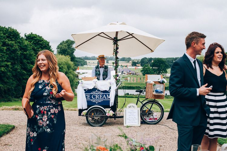 Ice-Cream Cart | Colourful Wedding at Kelmarsh Hall in Northamptonshire | Casey Avenue Photography