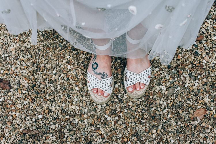 Bridal Shoes | Bride in Needle & Thread Bridal Skirt | Colourful Wedding at Kelmarsh Hall in Northamptonshire | Casey Avenue Photography