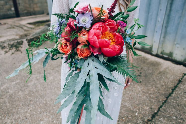 Peony Bridal Bouquet | Colourful Wedding at Kelmarsh Hall in Northamptonshire | Casey Avenue Photography