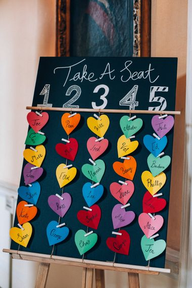 DIY Table Plan | Colourful Wedding at Kelmarsh Hall in Northamptonshire | Casey Avenue Photography