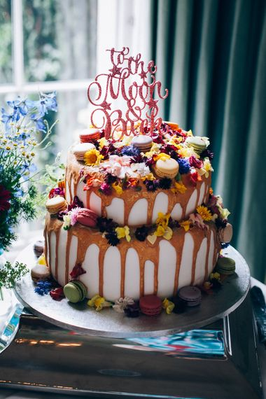 Drip Wedding Cake with Macaroons | Colourful Wedding at Kelmarsh Hall in Northamptonshire | Casey Avenue Photography