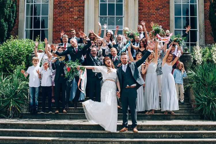 Bride in Needle & Thread Bridal Skirt | Bridesmaids in ASOS Dresses | Groomsmen in Check Slaters Suits | Colourful Wedding at Kelmarsh Hall in Northamptonshire | Casey Avenue Photography