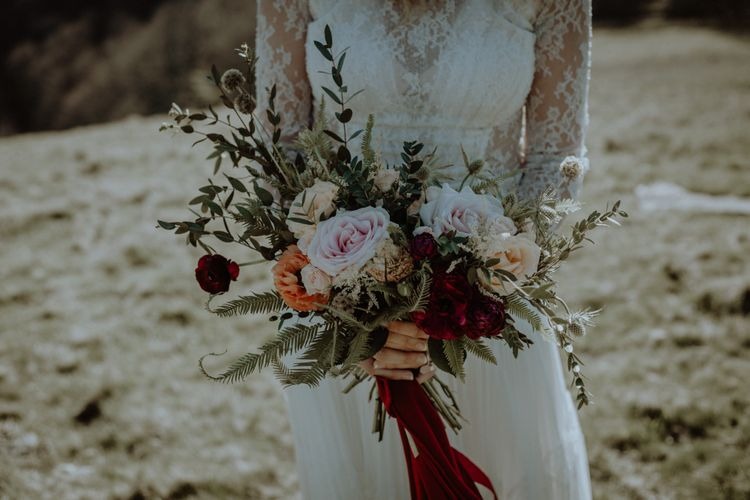 Wild Bouquet With Roses And Burgandy Ribbon