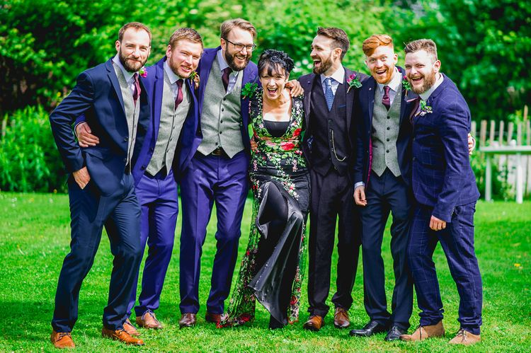 Groomsmen in Navy Suits | Bright At Home Tipi Wedding | Barney Walters Photography