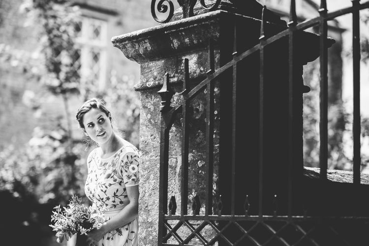 Bridesmaid in Floral Miss Selfridge Dress | Bright At Home Tipi Wedding | Barney Walters Photography