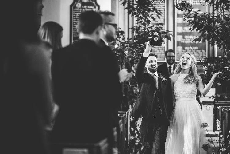 Church Wedding Ceremony | Bride in Catherine Deane Carly Bridal Gown | Groom in Navy Suit | Bright At Home Tipi Wedding | Barney Walters Photography
