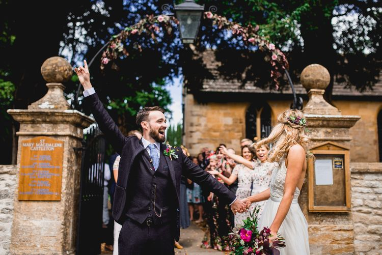 Church Wedding | Bride in Catherine Deane Carly Bridal Gown | Groom in Navy Suit | Bright At Home Tipi Wedding | Barney Walters Photography