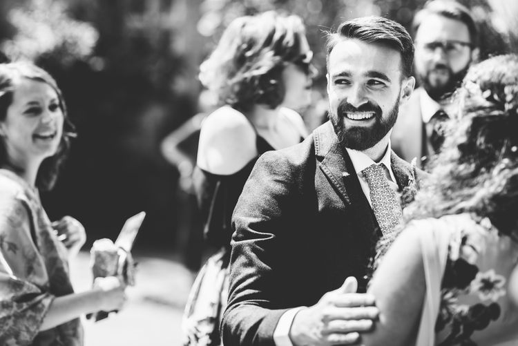 Groom in Navy Suit | Bright At Home Tipi Wedding | Barney Walters Photography