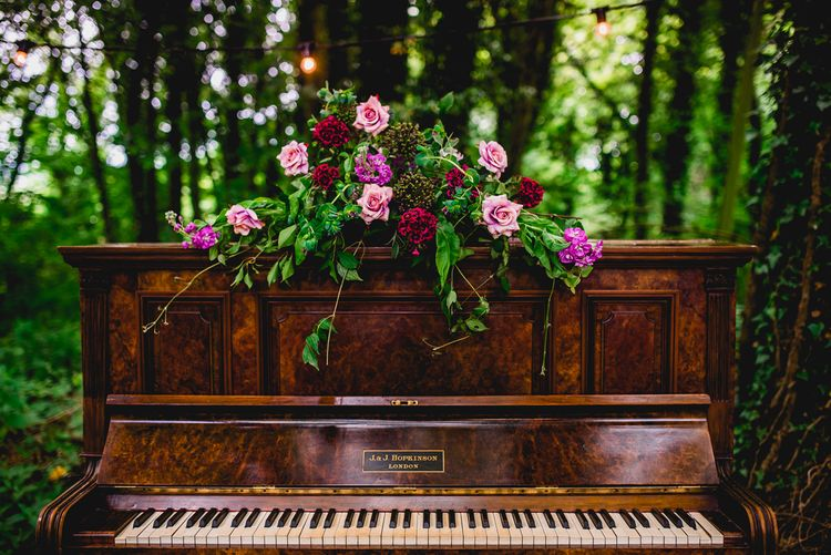 Piano & Flowers Wedding Decor | Bright At Home Tipi Wedding | Barney Walters Photography