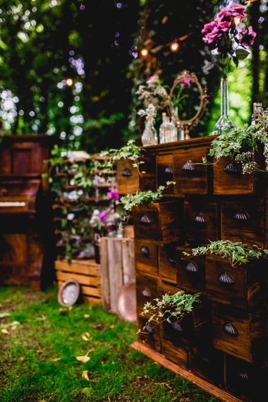 Wooden Draws Wedding Decor | Bright At Home Tipi Wedding | Barney Walters Photography