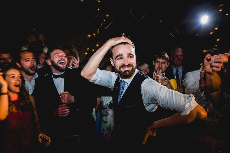 Beer Pong | Groom in Navy Suit | Bright At Home Tipi Wedding | Barney Walters Photography