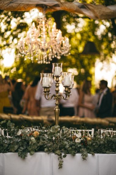 Romantic Outdoor Destination Wedding Umbria With White Linen, Foliage And Gold Accents With Bride In Bespoke Lace Dress And Images From Andrea & Federica