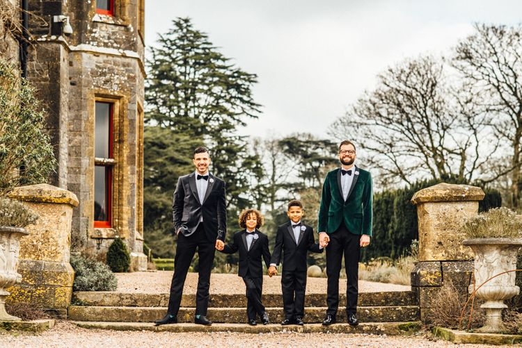 Grooms In Velvet Jackets Image by Michelle Wood Photographer