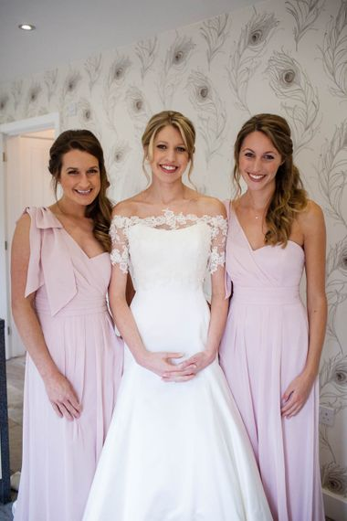 Bridesmaids in One Shoulder Pink Maids to Measure Dresses | Bride in Sassi Holford Grace Wedding Dress | Blink Photography