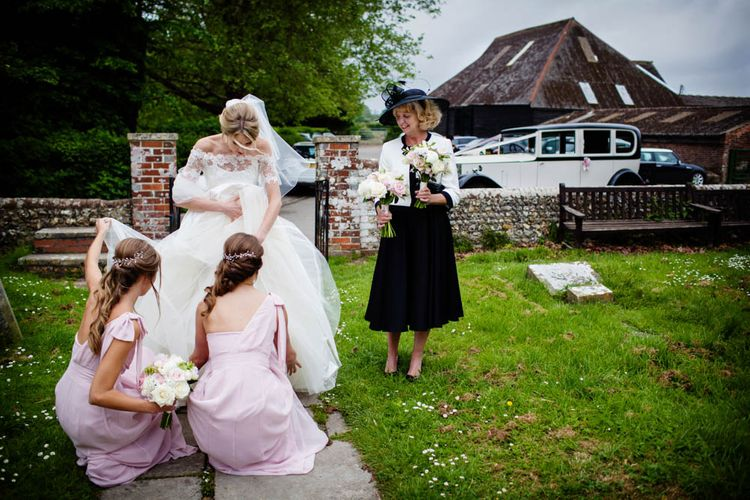 Bridal Party Church Entrance | Bridesmaids in Pink Maids to Measure Dresses | Bride in Sassi Holford Grace Wedding Dress | Blink Photography