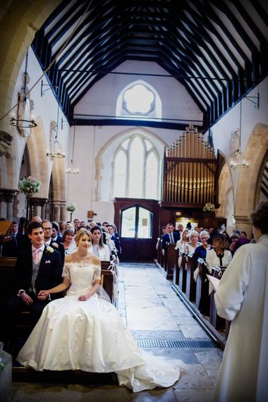 Church Wedding Ceremony | Bride in Sassi Holford Grace Wedding Dress | Groom in Traditional Oliver Brown Tailored Suit | Blink Photography