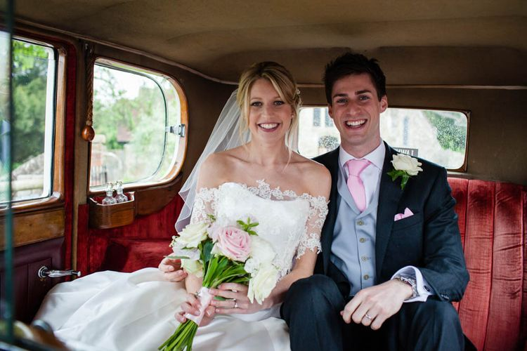 Wedding Car | Bride in Sassi Holford Grace Wedding Dress | Groom in Traditional Oliver Brown Tailored Suit | Blink Photography