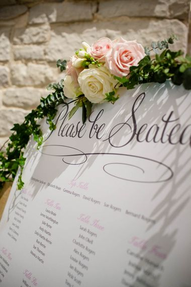 Seating Chart | Classic Pink Wedding at The Tithe Barn in Hampshire | Blink Photography