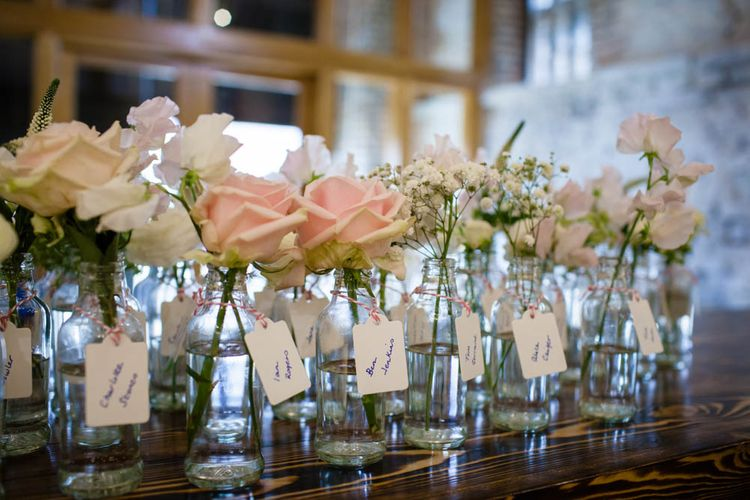 Flower Stem Place Name Decor | Classic Pink Wedding at The Tithe Barn in Hampshire | Blink Photography