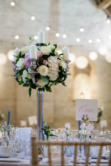 Floral Centrepiece | Classic Pink Wedding at The Tithe Barn in Hampshire | Blink Photography