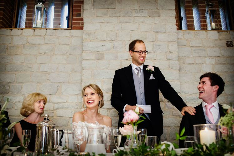 Wedding Speeches | Classic Pink Wedding at The Tithe Barn in Hampshire | Blink Photography