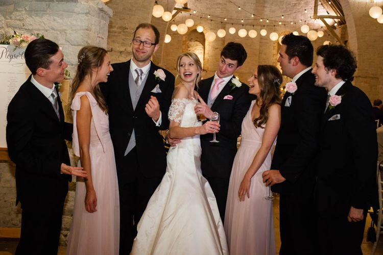 Wedding Party | Bride in Sassi Holford Grace Wedding Dress | Groom in Traditional Oliver Brown Tailored Suit | Blink Photography