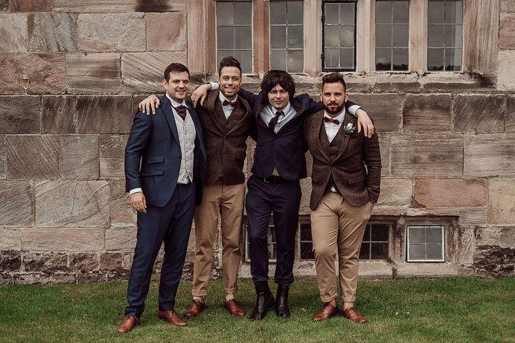 Groomsmen in Chino's and Harris Tweed Jackets