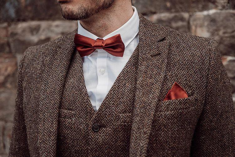 Harris Tweed Jacket & Burgundy Bow Tie