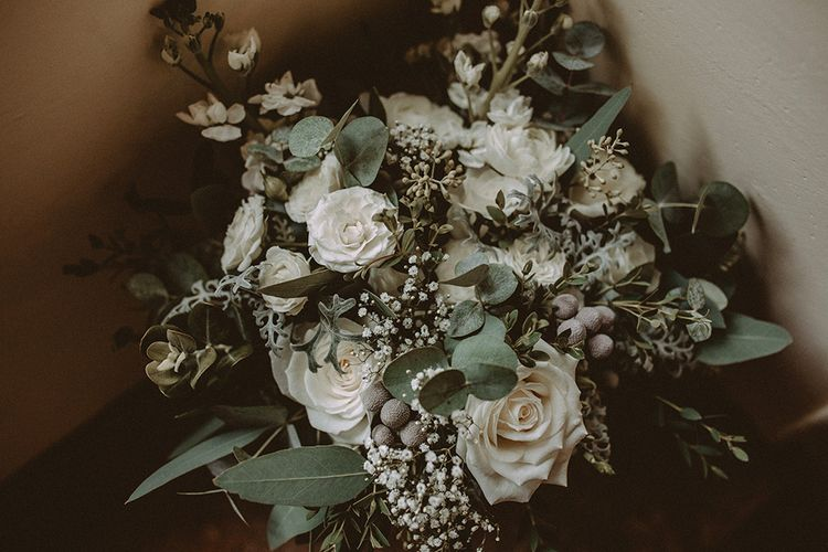 White Flower & Foliage Wedding Bouquet
